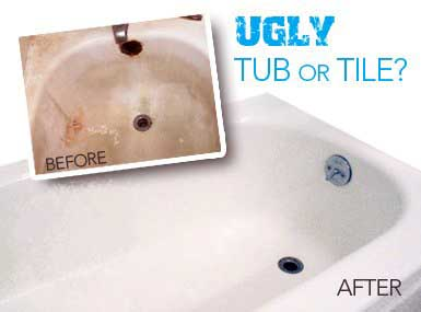What a tub owned by a person in Anchorage, Alaska that needs to be resurfaced looks like and what a bathtub that Tub Tech has resurfaced will look like